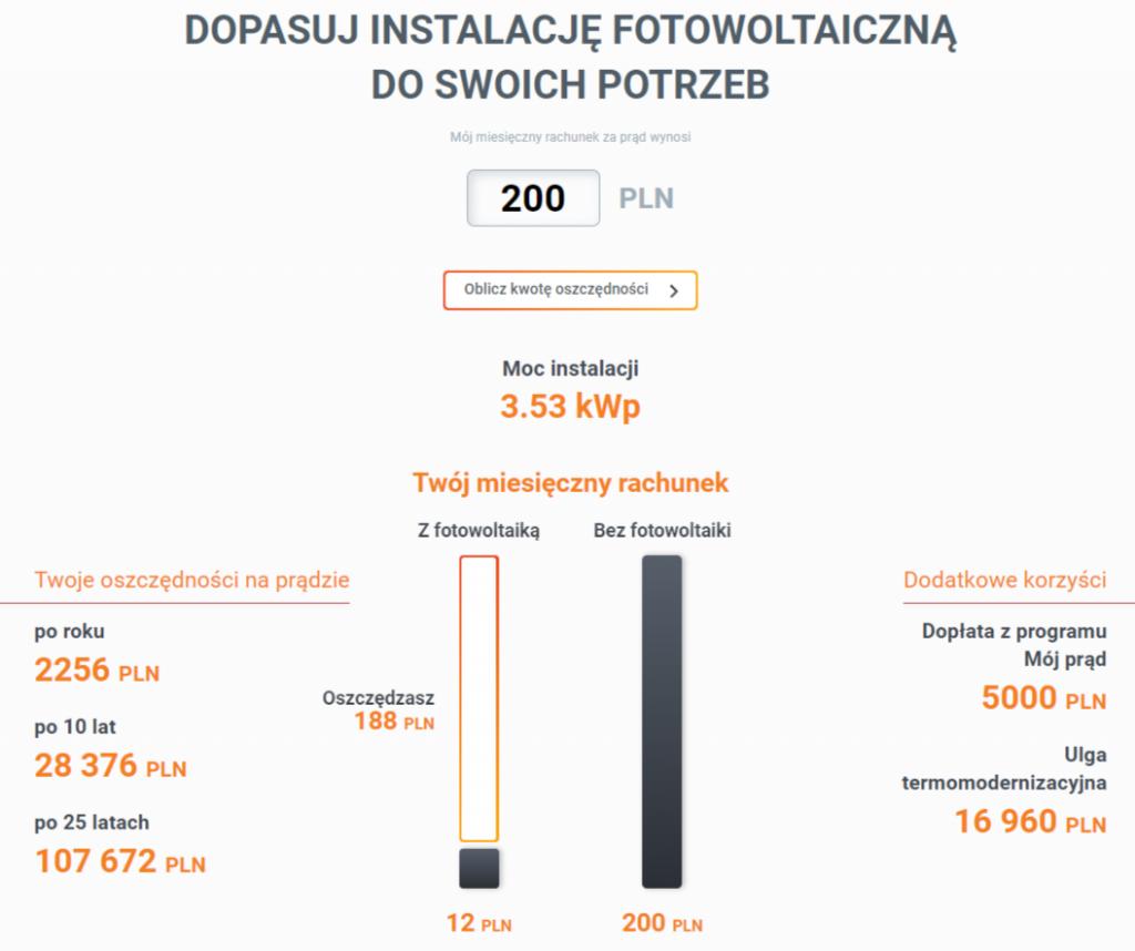kalkulator fotowoltaiczny Sunvival.pl 200zł